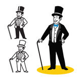 Gentleman Cartoon. Vector Illustration of Simple Gentleman in Suit and Walking Stick Royalty Free Stock Photography