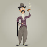 Gentleman with cigar and stick. Funny cartoon character. Stock Images