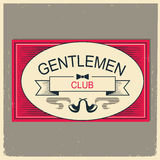 Gentleman club logo illustration.Vintage men`s club card with te Stock Image
