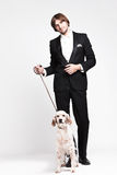 Gentleman and dog Royalty Free Stock Images