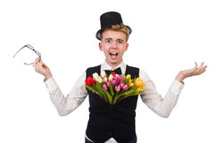 Gentleman with flowers isolated on white Royalty Free Stock Photos