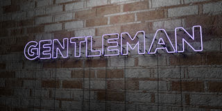 GENTLEMAN - Glowing Neon Sign on stonework wall - 3D rendered royalty free stock illustration Stock Images