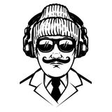 Gentleman with headphones and sun glases.Design element for poster, t shirt, card. vector illustration