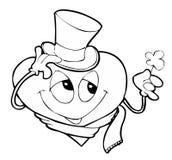 Gentleman heart. With a flower vector illustration