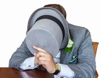 Gentleman hiding his face Royalty Free Stock Images