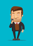 Gentleman holding and using new android phone  image illustration Royalty Free Stock Photos