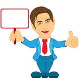 Gentleman holds the empty plaque. Gentleman holds in his hand and shows the empty plaque, color cartoon vector illustration Stock Image