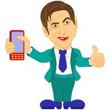 Gentleman holds the mobile phone Royalty Free Stock Photos