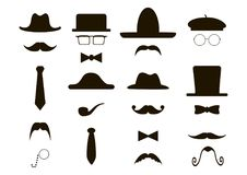 Gentleman icon - hats, mustache, pipe, bow Stock Images