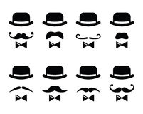 Gentleman icon - man with moustache and bow tie set Royalty Free Stock Image