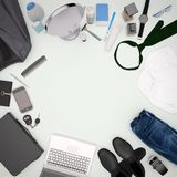 Gentleman kit - men`s fashion clothes and accessories isolated o. N light background. Square Royalty Free Stock Photos