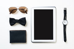 Gentleman Kit Of Tablet Watch Glasses Bow Tie And Notebook On Wooden Table Royalty Free Stock Photography