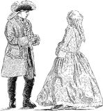 Gentleman and lady in the historical costumes. Vector drawing of the young people in the theatrical suits royalty free illustration
