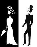 Gentleman and Lady silhouette. Gentleman and Lady, symbolic vintage style, black and white silhouette. Vector Royalty Free Stock Photo