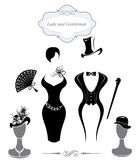 Gentleman and Lady symbols. Vintage style, black and white silhouette Stock Image