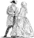 Gentleman and lady are talking. Vector drawing of the young people in the historical costumes Stock Illustration
