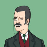 Gentleman with moustaches and monocle. Vector illustration of gentleman with moustaches and monocle Stock Images