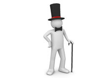 Gentleman / nobleman in top hat with walking stick. 3d isolated on white background characters series Stock Photo