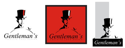 Gentleman old hat logo. Vintage logo with bearded gentleman and joben Royalty Free Stock Photography