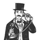 Gentleman with phone engraving vector illustration Stock Photos