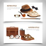 Gentleman Realistic Banners Set. Retro and hipster styles gentleman accessories 2 horizontal realistic banners set with leather shoes isolated vector Stock Photos