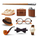 Gentleman Realistic Set. Gentleman realistic accessories decorative icons set with cane shoes smoking pipe isolated vector illustration Royalty Free Stock Photo