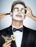 Gentleman receiving spa facial treatment Stock Images