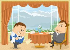 Gentleman in Restaurant. Respectable gentleman sitting in a restaurant with Mountain View near the table while waiter with a bow gives him menu, funny cartoon Stock Image