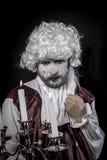 Gentleman rococo era wig Royalty Free Stock Image