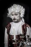 Gentleman rococo era wig, man dressed in vintage style. Gentleman rococo era wig, man dressed in vintage Stock Photo