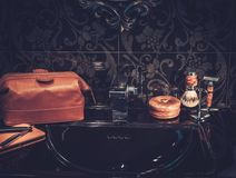 Gentleman's accessories in a Luxury bathroom interior. Royalty Free Stock Image