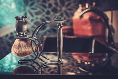 Gentleman's accessories in a Luxury bathroom interior. Royalty Free Stock Images