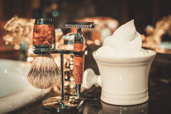Gentleman's accessories in a Luxury bathroom interior. Royalty Free Stock Photography