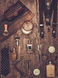 Gentleman's accessories. On a on a luxury wooden board Royalty Free Stock Photos