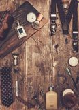 Gentleman's accessories. On a on a luxury wooden board Stock Photos