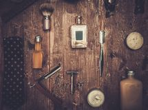 Gentleman's accessories. On a on a luxury wooden board Royalty Free Stock Photo
