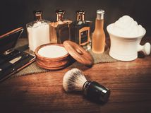 Gentleman's accessories on a luxury Wooden board Stock Photography