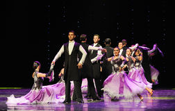 A gentleman's demeanor-Israeli folk dance-the Austria's world Dance. Late on January 9, 2015, brought by Austria World Dance World Dance staged in Jiangxi Stock Image