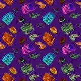 Gentleman` s skor, påsar och den eleganta kombinationssamlingen för hattar, vattenfärgillustration i ljusa neonrosa färger, blått royaltyfri illustrationer