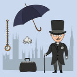 Gentleman. Set of cartoon objects that are symbols of London Royalty Free Stock Images