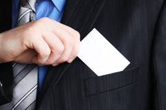 Gentleman showing businesscard Stock Photo