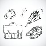 Gentleman Sketch Handdrawn Vector Set Royalty Free Stock Photography