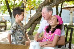 Gentleman spending time with grandchildren Stock Photos