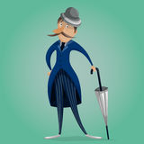 Gentleman with umbrella. Funny cartoon character. Royalty Free Stock Images
