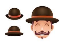 Gentleman Victorian Business Cartoon Bowler Hat Icon English 3d Isolated Background Retro Vintage Great Britain Design Stock Images