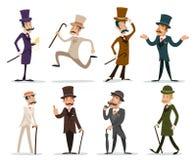 Gentleman Victorian Business Cartoon Character Icon Set English  Background Retro Vintage Great Britain Design Stock Photos