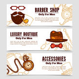 Gentleman Vintage Doodle 3 Bannners Set Royalty Free Stock Image