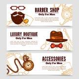 Gentleman Vintage Doodle 3 Bannners Set Royalty Free Stock Image