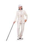 Gentleman in white suit isolated on white Royalty Free Stock Photo