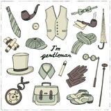 Gentlemans vintage accessories doodle set. Royalty Free Stock Photography